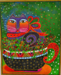 LB-42 A Cup of Good Cheer 8 x 10 18 Mesh Danji Designs LAUREL BURCH