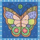 LB-70 Blue Butterfly 5 x 5 18  Mesh Danji Designs LAUREL BURCH