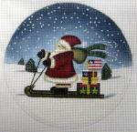 """LK-32 Santa on Sled 5"""" Round 18 Mesh LAURIE KORSGADEN"""
