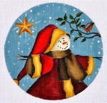 """LK-47 Snowman Santa with Star 5"""" Round 18 Mesh LAURIE KORSGADEN"""