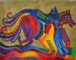 LB-43 Dancing Horses 18 x 14 18 Mesh Danji Designs LAUREL BURCH