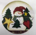 """LK-39 Snowman Happy Holidays 5"""" Round 18 Mesh LAURIE KORSGADEN"""