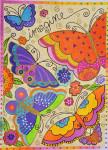 LB-64 Rainbow Butterflies 10 x 14 18 Mesh Danji Designs LAUREL BURCH