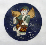 "LK-49 Snow Angel and Mandolin 5"" Round 18 Mesh LAURIE KORSGADEN LK-52 Snowman & Cardinal Stocking 11 x 22 13 Mesh"