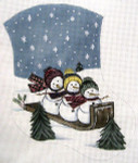 LK-33 Snowmen on Sled Mini Sock 5 ½ x 6 ½ 18 Mesh LAURIE KORSGADEN
