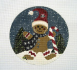 "LK-02 Gingerbread Man with Candy Cane 5"" Round 18 Mesh LAURIE KORSGADEN"