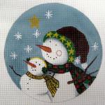 """LK-30 Snowman with Star 5"""" Round 18 Mesh LAURIE KORSGADEN"""