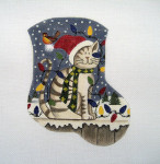 LK-10 Christmas Kitty 5 ½ x 6 ½ 18 Mesh LAURIE KORSGADEN