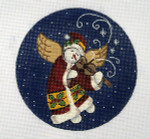 "LK-50 Snow Angel and Violin 5"" Round 18 Mesh LAURIE KORSGADEN"
