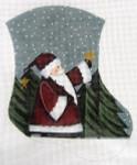 LK-35 Santa Holding Star Mini Sock 5 ½ x 6 ½ 18 Mesh LAURIE KORSGADEN