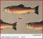 4326 Leigh Designs Rainbow Trout And Fly 18 Count Canvas