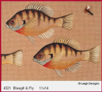4321 Leigh Designs Bluegill And Fly 18 Count Canvas