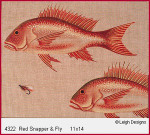 4322 Leigh Designs Red Snapper And Fly 18 Count Canvas