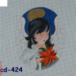 "CD-424 Poinsettia Angel Mesh 18 Mesh 4.75 x 6"" Bettieray Designs"
