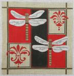 "CBK Designs by Karen DK-PL 32 Dragonflies on Black/red 13  Mesh 10.5"""