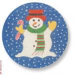 "CBK Designs by Karen DK-EX 06 Snowman Ornament 18 Mesh 3.75"" Rnd."