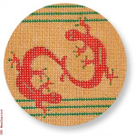 """CBK Designs by Karen DK-EX 08 Geckos Ornament 13 Mesh 4"""" Rnd"""