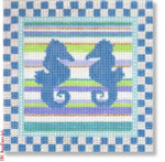"""DK-PL 35 Two Sea Horses with Check Border 13 Mesh 6"""" Designs by Karen"""