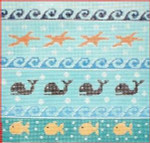 "CBK Designs by Karen DK-PL 33 Fish, Whales, Waves 13 Mesh 8 x 8"""