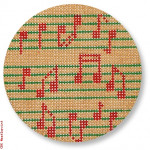 "CBK Designs by Karen DK-EX 10 Musical Notes Ornament 13 Mesh 4"" Rnd"