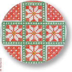 "CBK Designs by Karen DK-EX 17 Poinsettias on Red 13 Mesh 4"" Rnd"