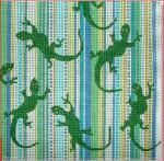 "CBK Designs by Karen DK-PL 34 Gecko on Stripes 13 Mesh 6.5"""