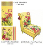 CA02B Trubey Designs Floral & Plaid Yellow Chair Back canvas only 36 x 17.5, 13G