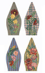 FS003A Floral Plaid (pc. 1,3,5, 7) 8 x 17,13g FOOTSTOOL Trubey Designs