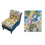 CA04A Trubey Designs CHAIR CANVAS Jungle Scene Seat canvas only 24 x 18, 13G