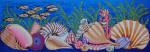 FS015 Seashells Bench Cover 10.5 x 29.5,13g FOOTSTOOL Trubey Designs