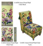 CA03A Floral & Plaid Green Seat canvas only 22.5 x 17.5, 13G Trubey Designs