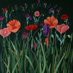 ED-1379 Dede's Needleworks Red Poppy Meadow on Green Canvas 14 x 14, 18g