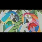 ED-742 Dede's Needleworks Jeweled Parrots 3½ x 6½, 18g , w/ stitch or fiber guide