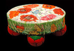 """ED-18076 Dede's Needleworks Poppies & Butterfly Footstool 18g, 12"""" x 19"""" oval"""