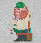 ED-812A Dede's Needleworks Irish Santa front only, 3½ x 5, 18g , w/ stitch guide