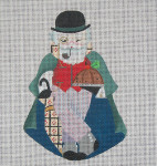 ED-671A Dede's Needleworks English Santa front only, 3½ x 5, 18g , w/ stitch guide