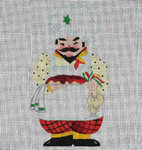 ED-813A Dede's Needleworks Italian Santa front only, 3½ x 5, 18g , w/ stitch guide