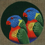 ED-1185E Dede's Needleworks Tropical Bird Rainbow Lorikeets, E. India, Australia 5½ x 5½
