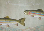 ED-1271 Dede's Needleworks Rainbow Trout on pattern watermark canvas 12 x 18, 18g