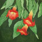 "ED-18057 Dede's Needleworks Giant Red Angel's Trumpet-Datura 14"" x 14"", 13g"
