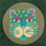ED-1146A Dede's Needleworks Leopard Turquoise 4 x 4