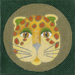 ED-1146C Dede's Needleworks Leopard Coaster Yellow 4 x 4