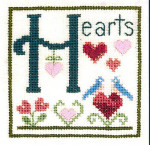 13-1351 H Is For Hearts Size: 50 x 50 Elizabeth's Designs