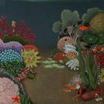 ED-1378 Dede's Needleworks Undersea Garden on Gray/Blue Canvas 14 x 14, 18g