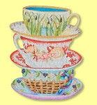ED-1302 Dede's Needleworks Collectors Towers of Teacups 8 x 14, 18g