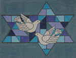 JT027 Two A T Design TALLIS Size: 10 x 13, 13g Stained Glass Doves Blue