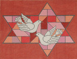 JT028 Two A T Design TALLIS Size: 10 x 13, 13g Stained Glass Doves Red