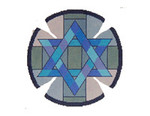 JT039A Two A T Design YARMULKE Size 7.5 dia., 18G Mosaic Star Blue