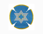 JT019A Two A T Design YARMULKE Size 7.5 diameter 18G Bold Star