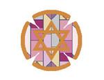 JT021A Two A T Design YARMULKE Size 7.5 diameter 18G Geometric Purple/Red